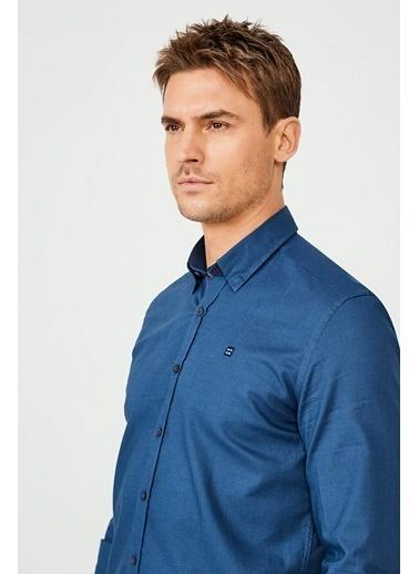 Avva Erkek  Düz Alttan Britli Yaka Gömlek A02Y2244 İndigo